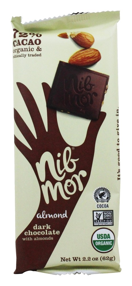 NibMor - Organic Dark Chocolate Bar Almond - 2.2 oz.