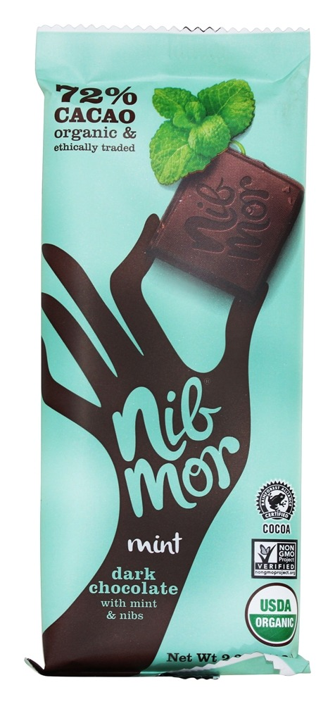 NibMor - Organic Dark Chocolate Bar Mint & Nibs - 2.2 oz.