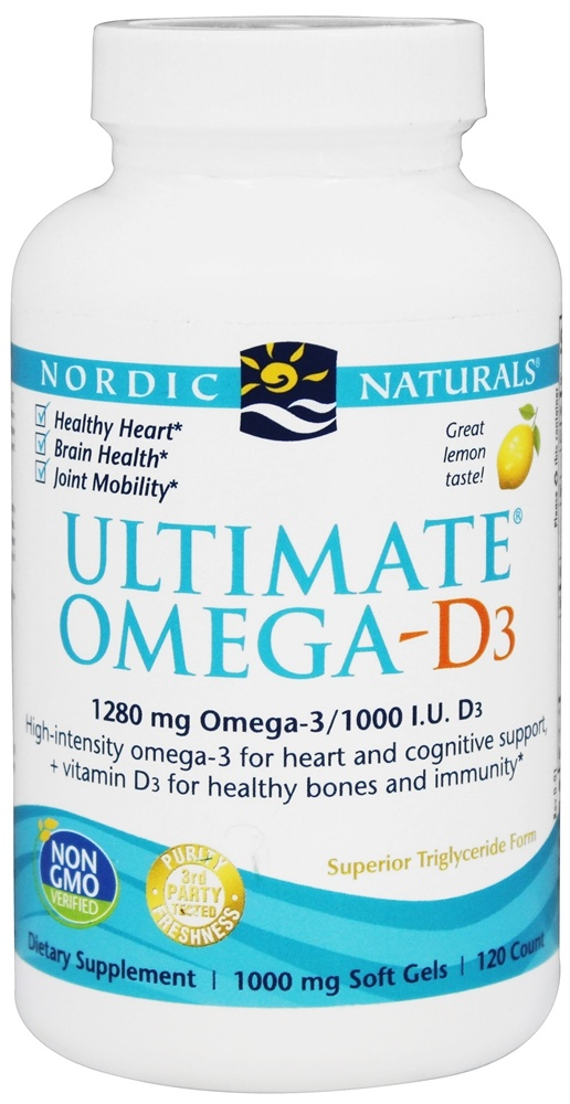 Nordic Naturals - Ultimate Omega - D3 Lemon 1000 mg. - 120 Softgels