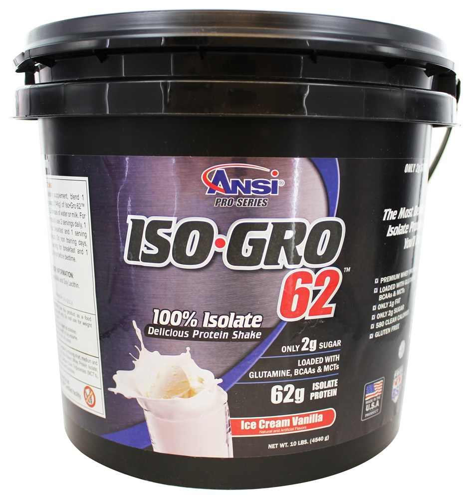 ANSI (Advanced Nutrient Science) - Iso Gro 62 Whey Protein Isolate Powder Ice Cream Vanilla - 10 lbs.