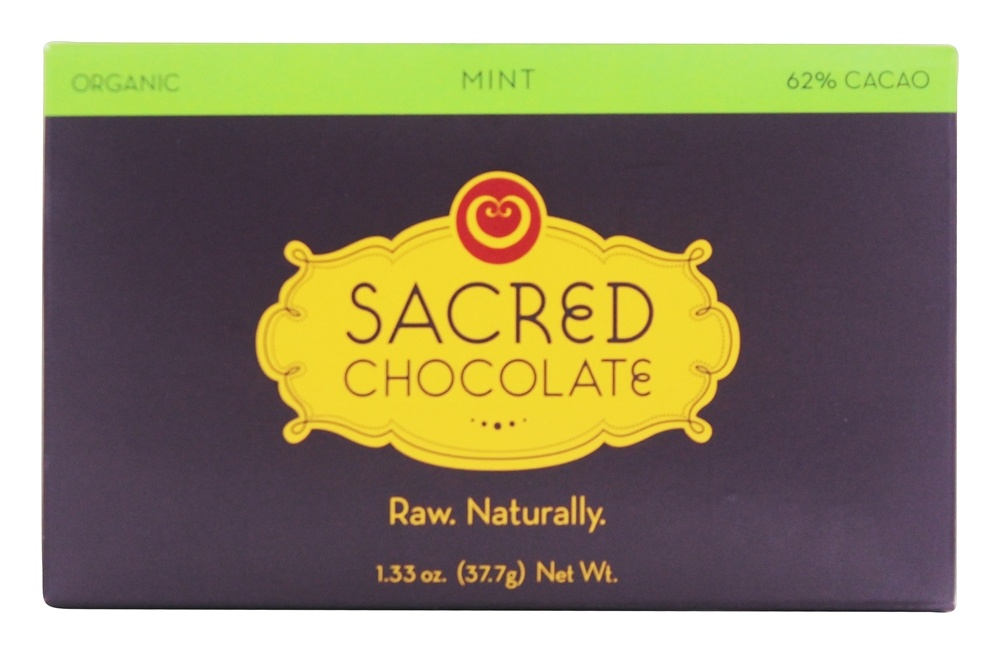 Sacred Chocolate - Organic Rectangles Chocolate Bar 62% Cacao Mint - 1.33 oz.