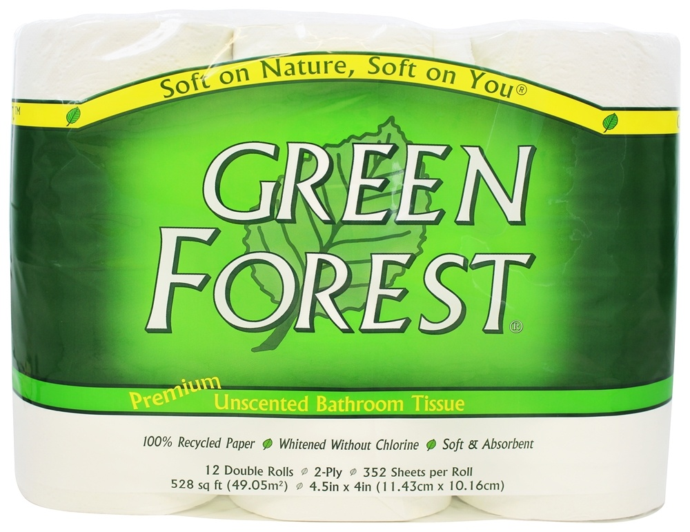 Green Forest - Premium Double-Roll Bathroom Tissue 100% Recycled 2-Ply 352 Sheets - 12 Roll(s)