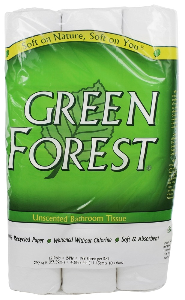 Green Forest - Bathroom Tissue 100% Recycled 2-Ply 198 Sheets - 12 Roll(s)
