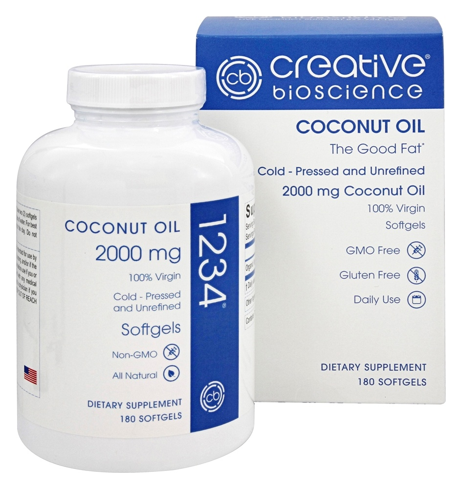 Creative BioScience - Coconut Oil 2000 mg. - 180 Softgels Formerly 1234