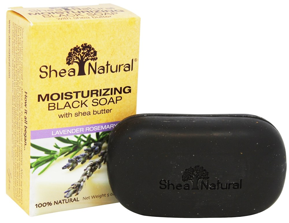 Shea Natural - Moisturizing Black Soap with Shea Butter Lavender Rosemary - 5 oz.