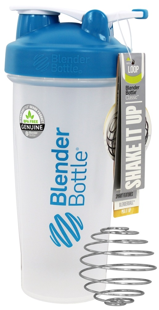 Blender Bottle - Classic Shaker Bottle with Loop Aqua - 28 oz. By Sundesa