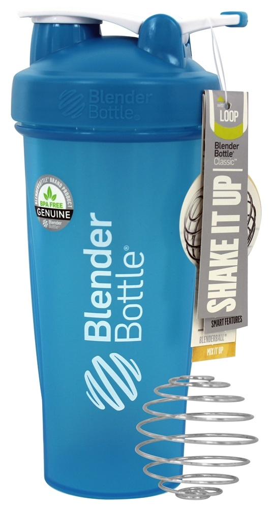 Blender Bottle - Classic Shaker Bottle with Loop Full-Color Aqua - 28 oz. By Sundesa