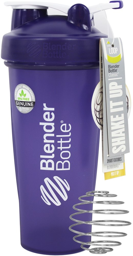 Blender Bottle - Classic Shaker Bottle with Loop Full-Color Purple - 28 oz. By Sundesa
