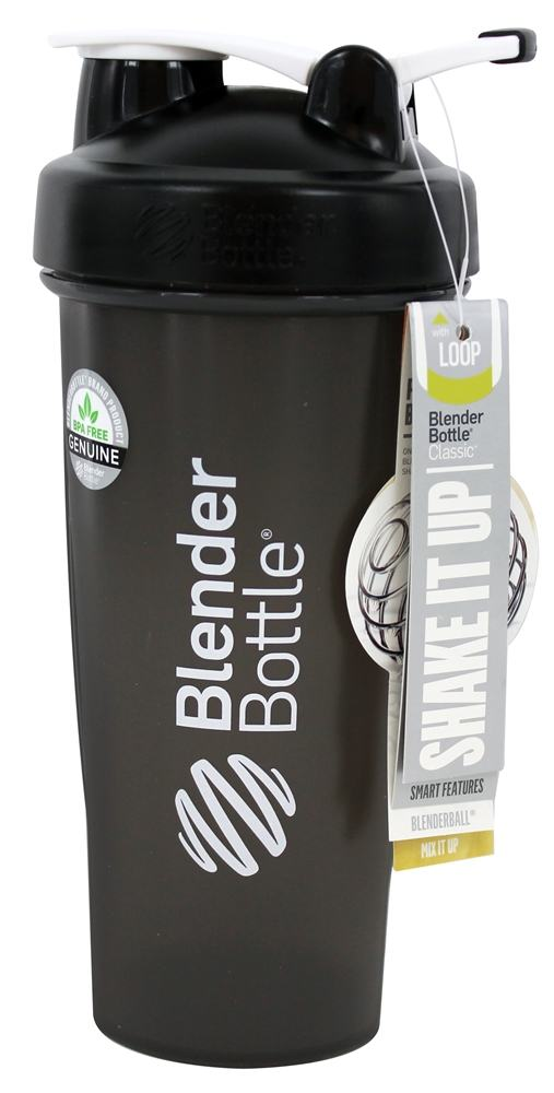 Blender Bottle - Classic Shaker Bottle with Loop Full-Color Black - 28 oz. By Sundesa