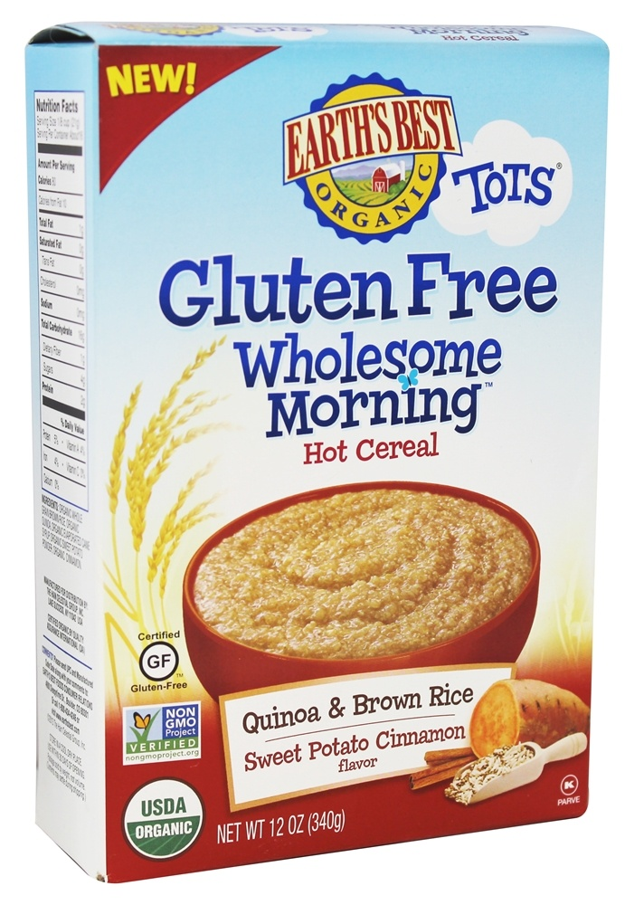 Earth's Best - Organic Tots Wholesome Morning Gluten Free Hot Cereal Quinoa & Brown Rice Sweet Potato Cinnamon Flavor - 12 oz.
