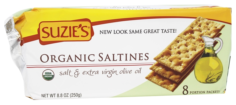 Suzie's - Organic Saltines Salt & Extra Virgin Olive Oil - 8.8 oz.