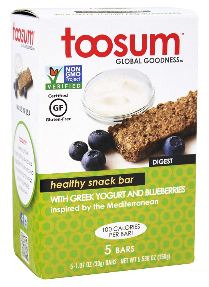 Toosum Healthy Foods - Gluten Free Healthy Snack Bar with Greek Yogurt and Blueberries 5 x 1.07 oz Bars
