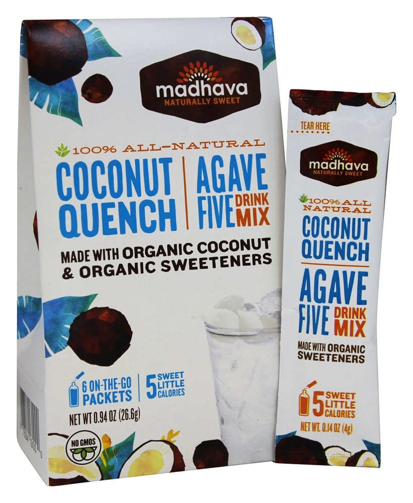 Madhava - All Natural Agave Five Drink Mix Coconut Quench - 6 x 0.88 oz. Packets
