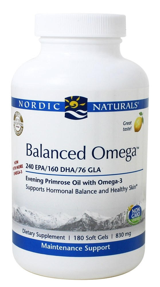 Nordic Naturals Professional - Balanced Omega Evening Primrose Oil with Omega-3 Lemon Flavor 500 mg. - 180 Softgels