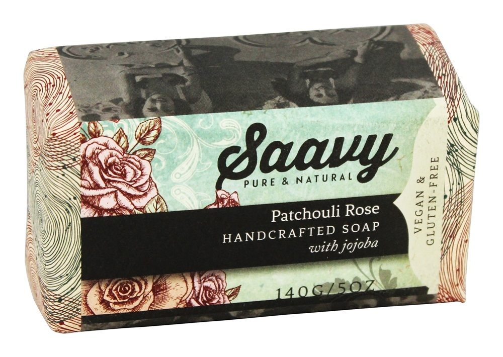 Saavy Naturals - Handcrafted Soap with Jojoba Patchouli Rose - 5 oz.