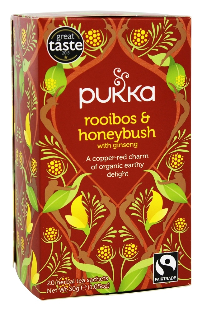 Pukka Herbs - Organic Herbal Tea Rooibos & Honeybush with Ginseng - 20 Tea Bags