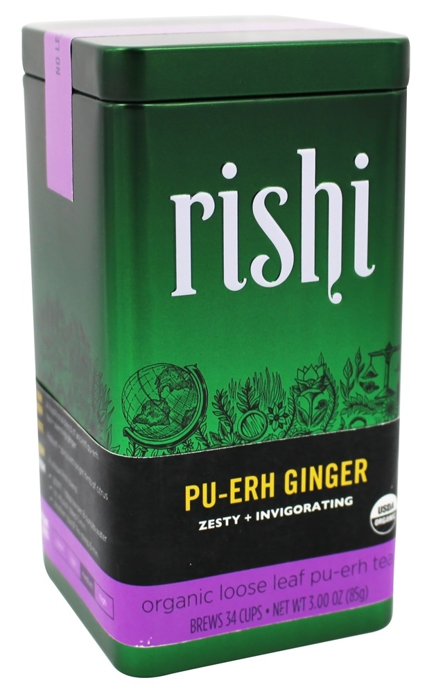 Rishi Tea - Pu-erh Ginger Organic Loose Leaf Pu-erh Tea - 3 oz.