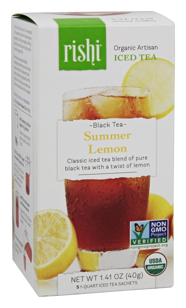 Rishi Tea - Organic Artisan Black Iced Tea Summer Lemon - 5 Sachet(s)