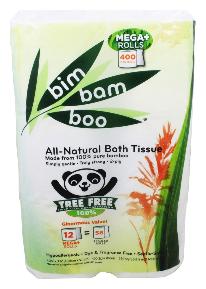 Ultra Green - Premium Double-Roll Bathroom Tissue 100% Bamboo 2-Ply 400 Sheets - 12 Roll(s)