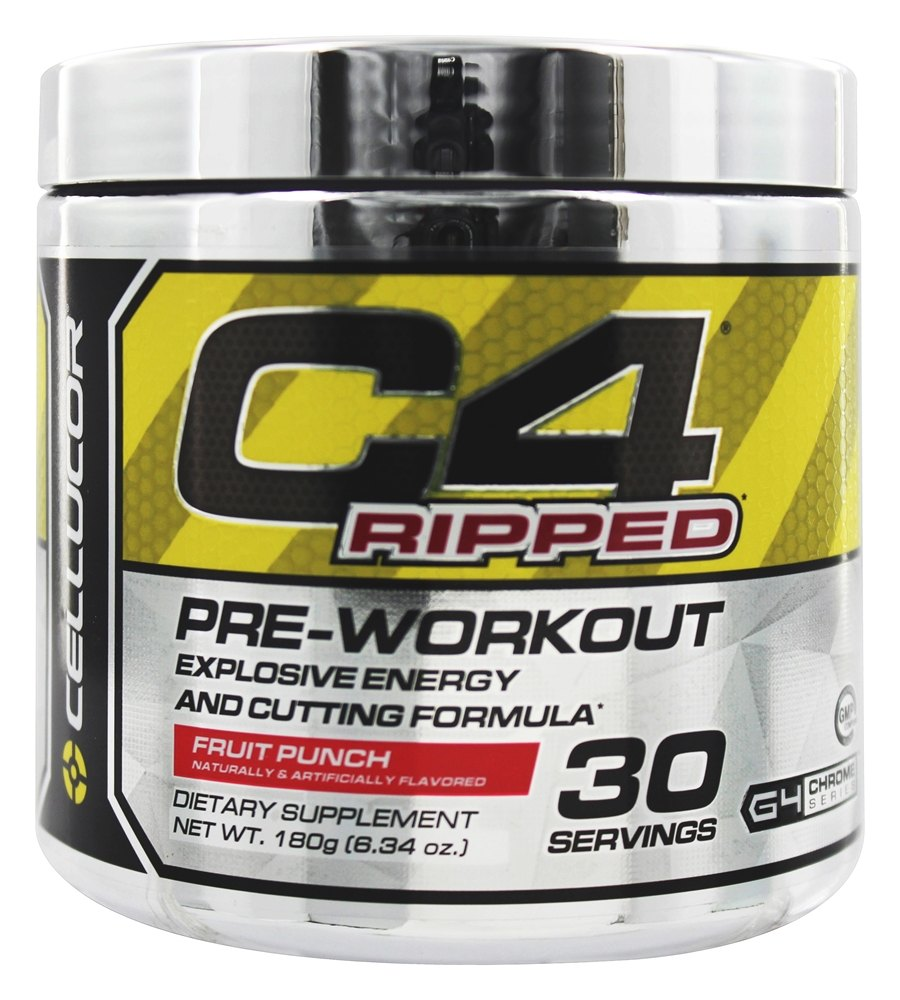 Cellucor - C4 Ripped Pre-Workout Explosive Energy and Cutting Formula Fruit Punch 30 Servings - 180 Grams