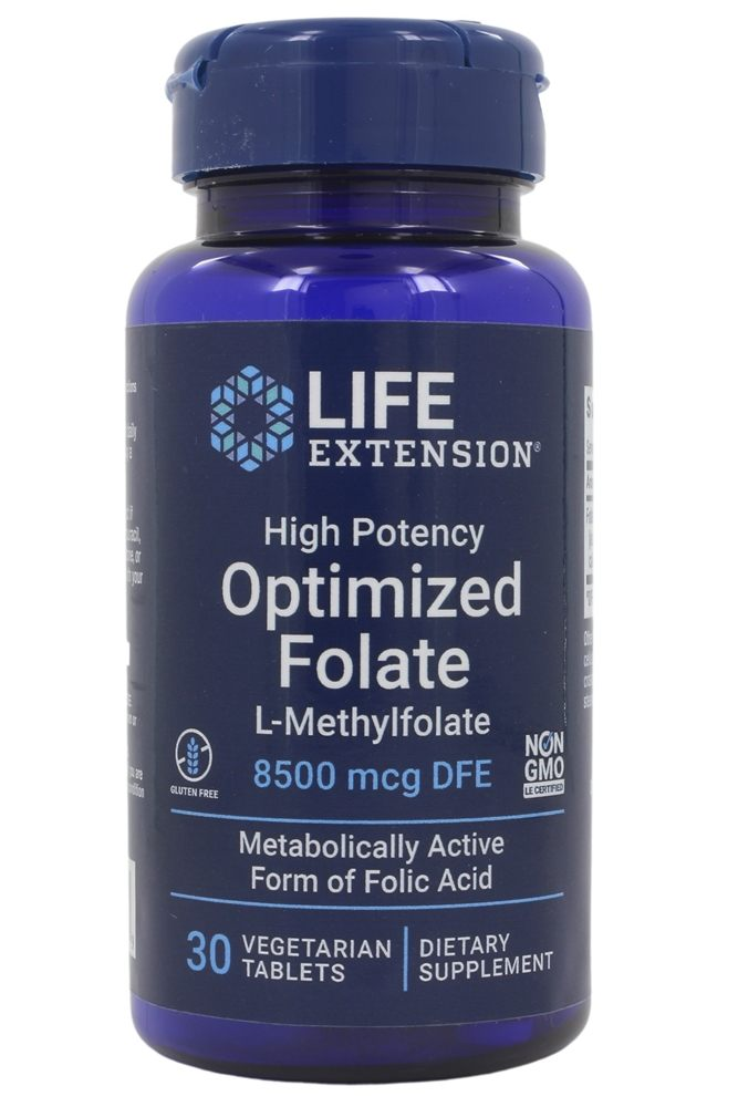 Life Extension - Optimized Folate High Potency L-Methylfolate 5000 mcg. - 30 Vegetarian Tablets