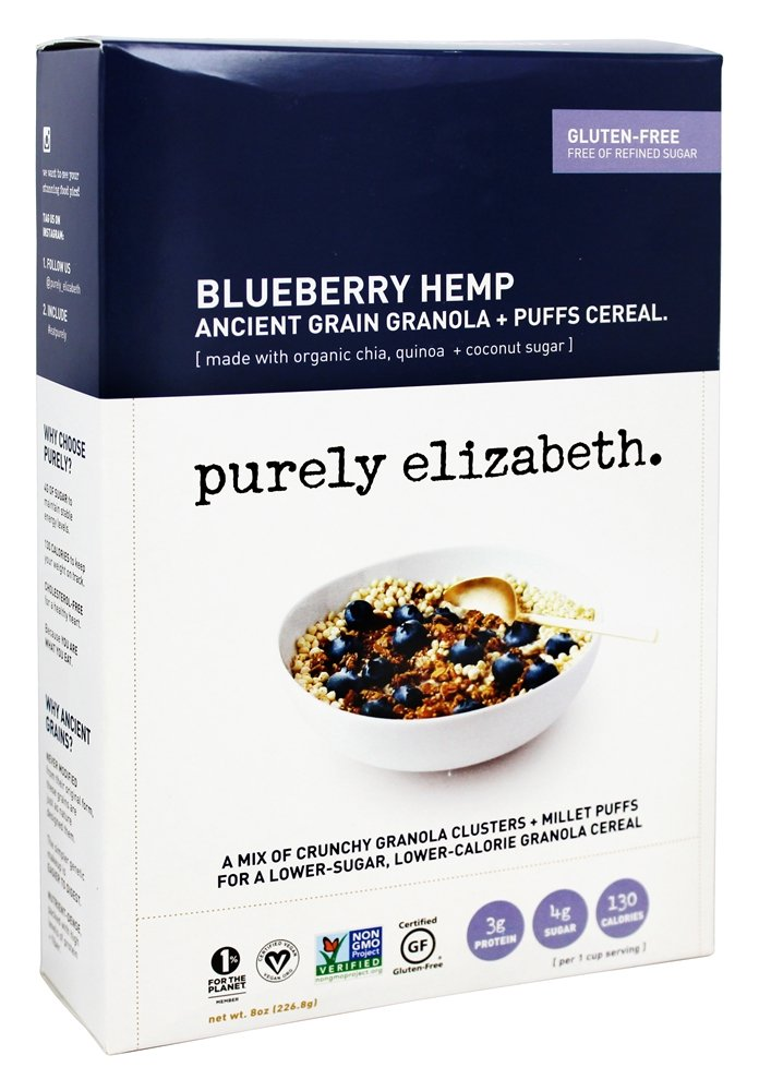 Purely Elizabeth - Organic Ancient Granola Cereal and Puffs Blueberry Hemp - 8 oz.