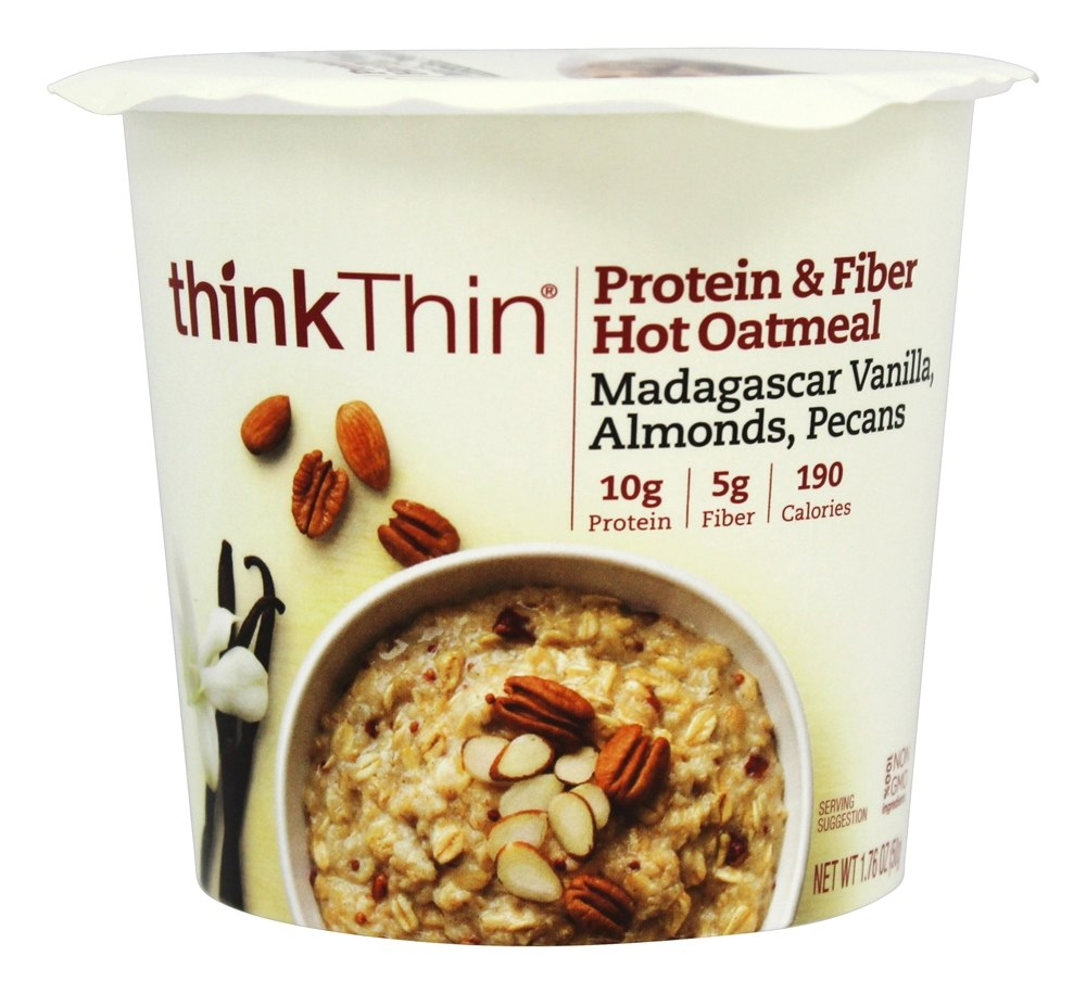 Think Products - thinkThin Protein and Fiber Hot Oatmeal Madagascar Vanilla with Almonds and Pecans - 1.76 oz.