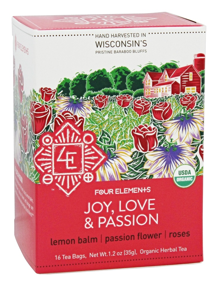 Four Elements Herbals - Organic Herbal Tea Joy, Love & Passion - 16 Tea Bags