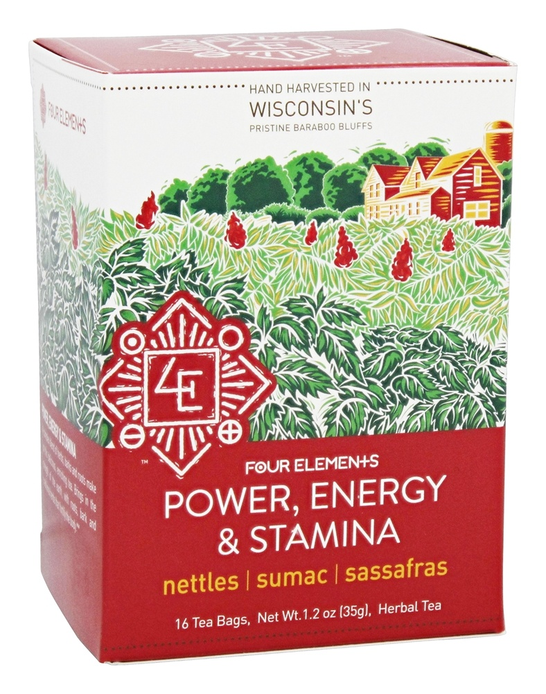 Four Elements Herbals - Organic Herbal Tea Power, Energy and Stamina - 16 Tea Bags