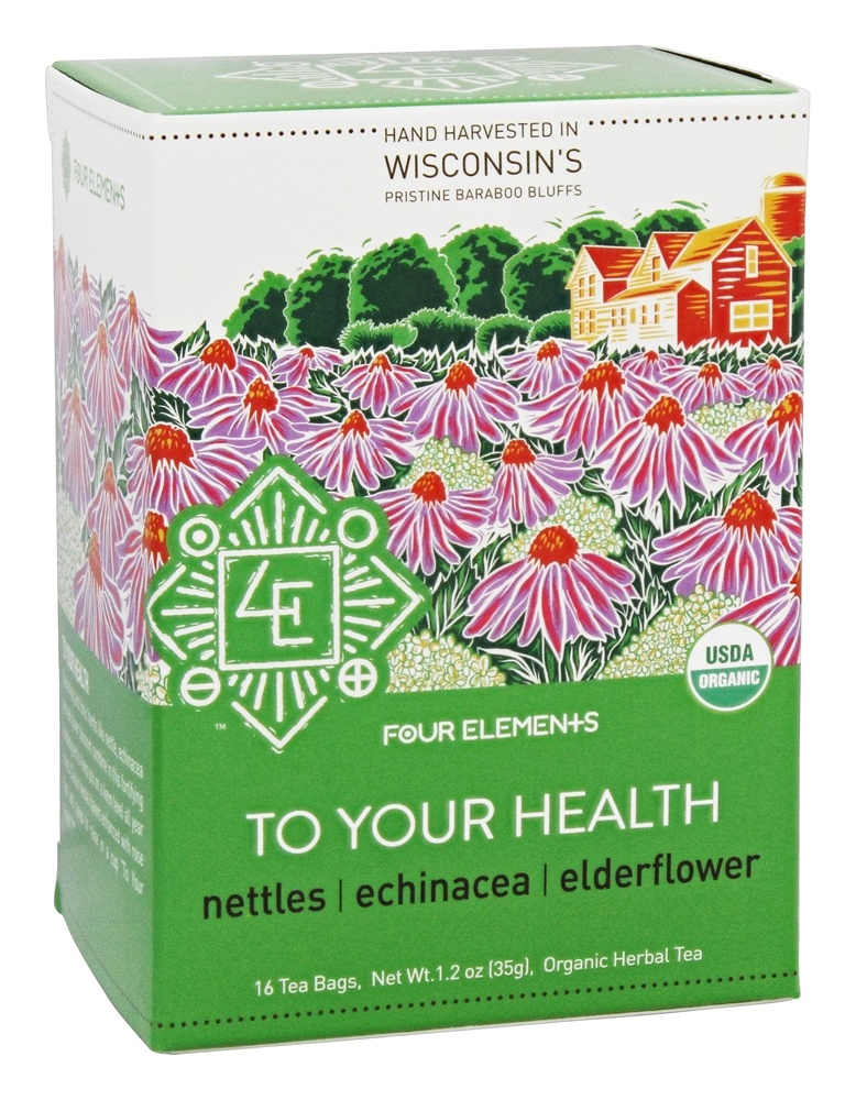 Four Elements Herbals - Organic Herbal Tea To Your Health - 16 Tea Bags