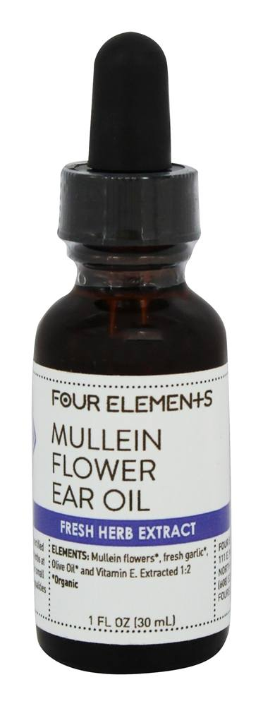Four Elements Herbals - Fresh Herb Extract Tincture Mullein Flower Ear Oil - 1 oz.