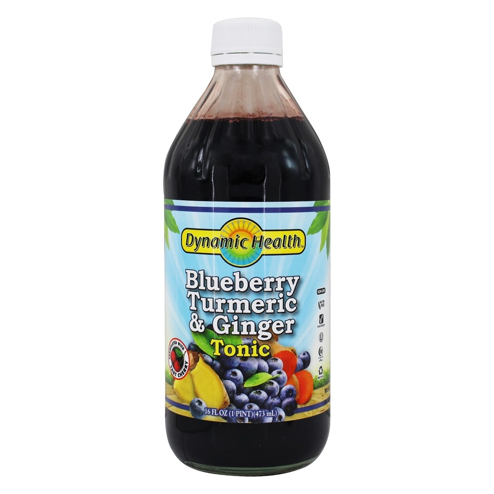 Dynamic Health - Turmeric and Ginger Tonic Blueberry - 16 oz.