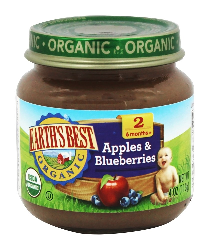 Earth's Best - Organic Baby Food Stage 2 Apples & Blueberries - 4 oz.