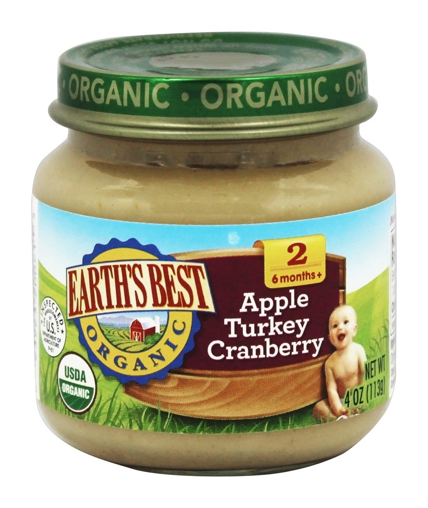 Earth's Best - Organic Baby Food Stage 2 Apple Turkey Cranberry - 4 oz.