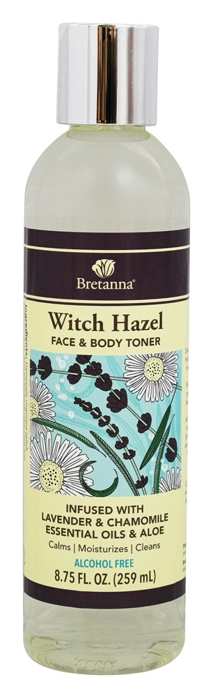 Bretanna - Witch Hazel Face & Body Toner Infused with Lavender & Chamomile Essential Oils & Aloe - 8.75 oz.