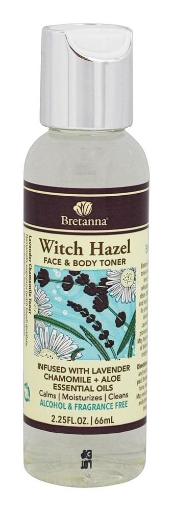 Bretanna - Witch Hazel Face & Body Toner Infused with Lavender Chamomile + Aloe Essential Oils - 2.25 oz.