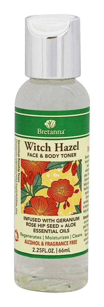 Bretanna - Witch Hazel Face & Body Toner Geranium Infused with Geranium Rose Hip Seed + Aloe Essential Oils - 2.25 oz.