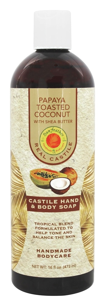 Sunfeather - Castile Hand & Body Soap Papaya Toasted Coconut with Shea Butter - 16 oz.