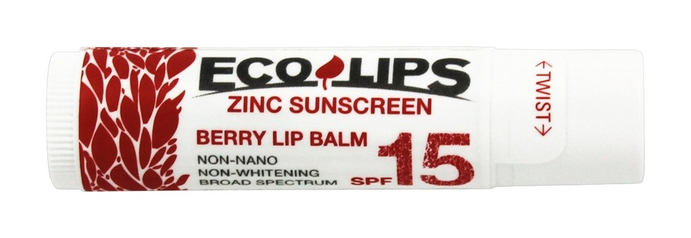 Eco Lips - Zinc Sunscreen Lip Balm SPF 15 Berry - 0.15 oz.