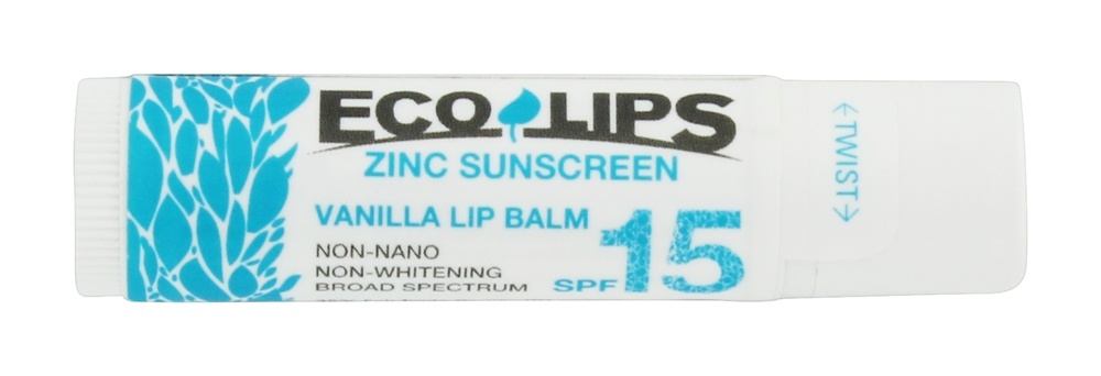 Eco Lips - Zinc Sunscreen Lip Balm SPF 15 Vanilla - 0.15 oz.