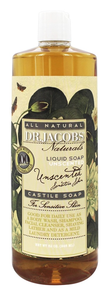 Dr. Jacobs Naturals - All Natural Liquid Castile Soap Unscented - 32 oz.