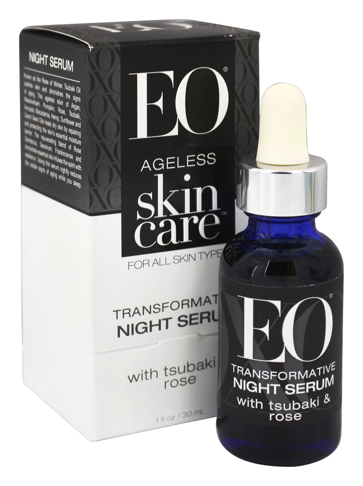 EO Products - Ageless Skin Care Transformative Night Serum with Tsubaki & Rose - 1 oz.
