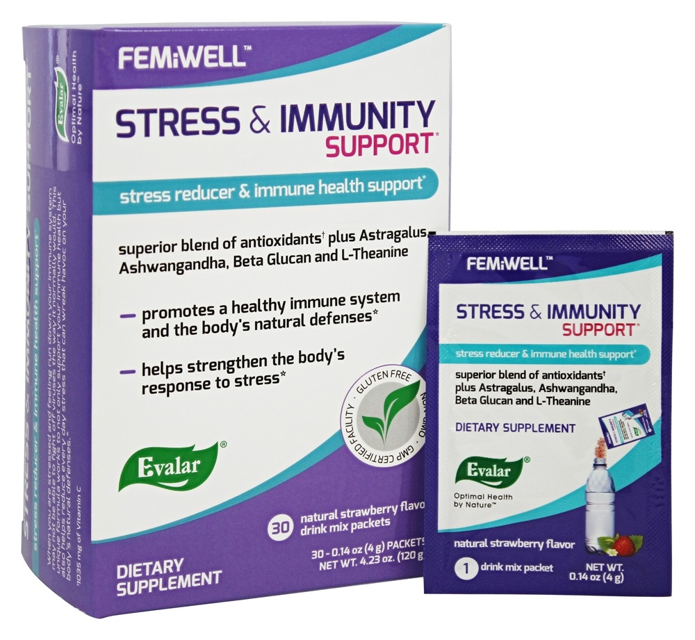 Evalar FemiWell - Stress and Immunity Support Drink Mix Natural Strawberry - 30 Packet(s)