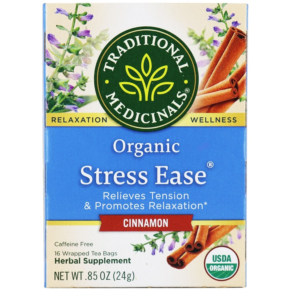 Traditional Medicinals - Organic Stress Ease Tea Cinnamon - 16 Tea Bags