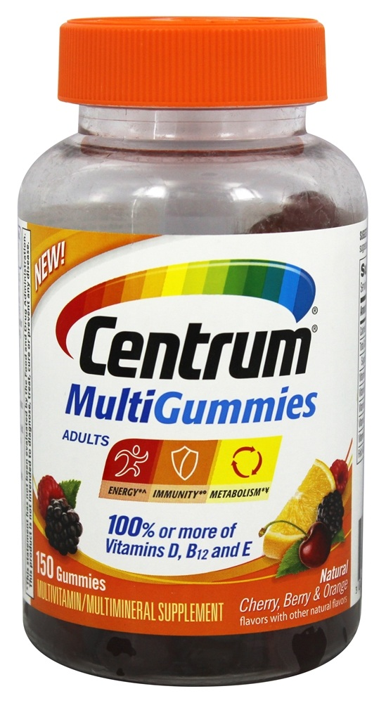 Centrum - MultiGummies for Adults Natural Cherry, Berry & Orange - 150 Gummies