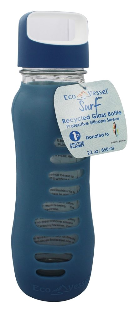 Eco Vessel - Surf Recycled Glass Water Bottle Storm Blue - 22 oz.