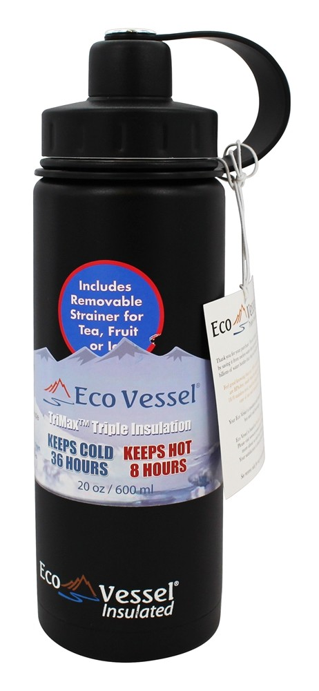 Eco Vessel - Boulder Insulated Water Bottle Black Shadow - 20 oz.