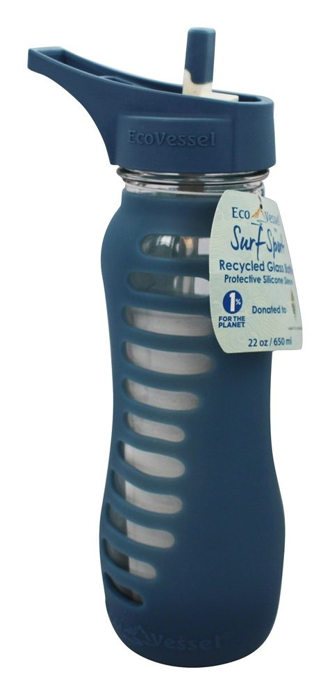 Eco Vessel - Surf Recycled Glass Straw Top Water Bottle Storm Blue - 22 oz.