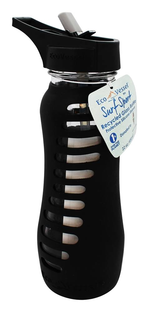 Eco Vessel - Surf Recycled Glass Straw Top Water Bottle Black Shadow - 22 oz.