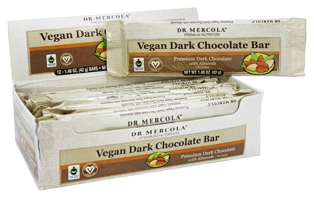 Dr. Mercola Premium Products - Vegan Dark Chocolate Bar with Almonds - 12 Bars